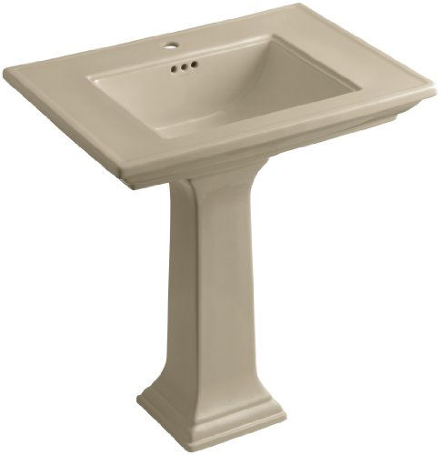 33 Memoirs Pedestal - KOHLER K-2268-1-33 Memoirs Pedestal Bathroom Sink with Single-Hole Faucet Drilling and Stately Design, Mexican Sand