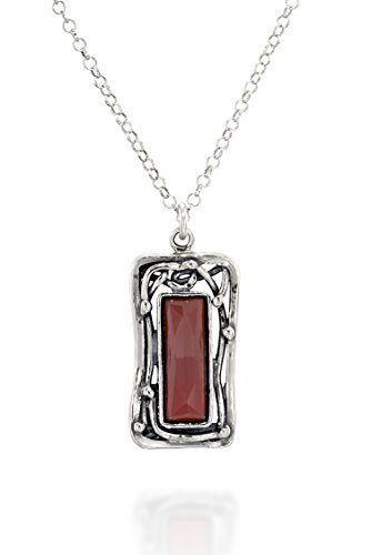 Retro Style Rectangular Carnelian Gemstone Pendant 925 Sterling Silver Women's Necklace, 18