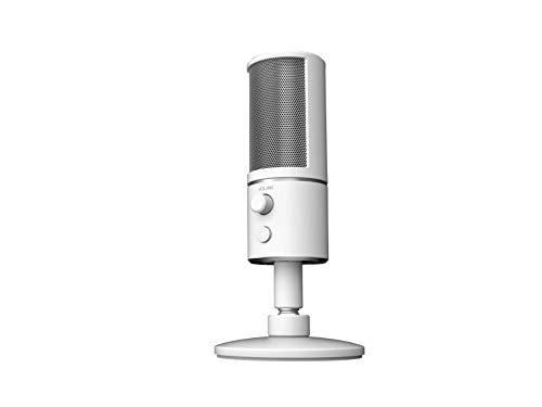 Razer Seiren X USB Streaming Microphone: Professional Grade - Built-in Shock Mount - Supercardiod Pick-Up Pattern - Anodized Aluminum - Mercury White