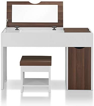 HOMES Inside Out Forssa Vanity Set, White, Brown