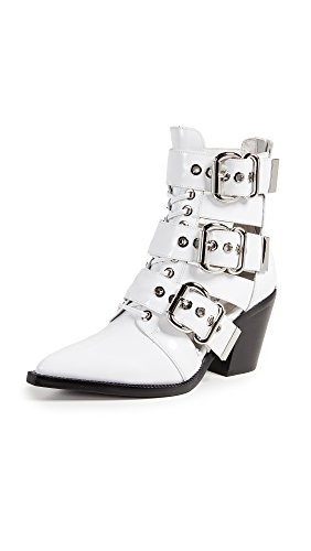Jeffrey Campbell Women's Caceres Buckle Booties, White Box, 8.5 B(M) US ()