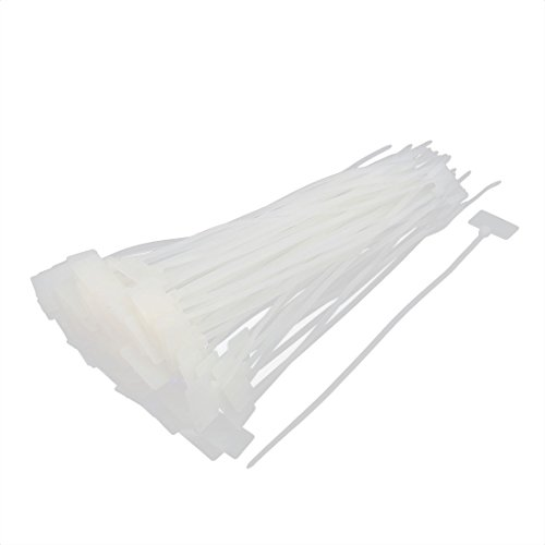 uxcell 100 Pcs Nylon Network Cable Cord Wire Label ID Tags Zip Ties Strap 4 x 200mm