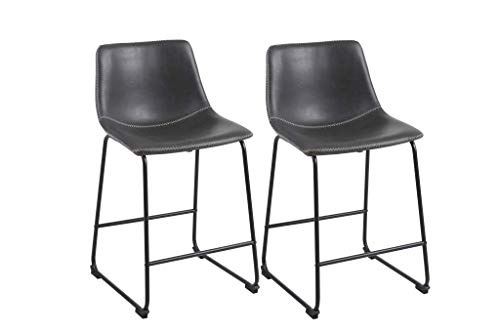 Phoenix Home AVH181108 Roundhill Furniture Lotusville Vintage PU Leather, Set of 2 Counter Height Stool, Grey string ()