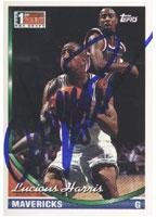 Lucious Harris Dallas Mavericks 1994 Topps 1st Round NBA Draft Autographed Card - Nice Card. This item comes with a certificate of authenticity from Autograph-Sports. Autographed