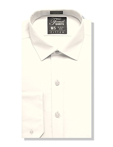 Luxe Microfiber Men's Fitted Spread Collar Dress Shirt - Style Jesse Ivory ()
