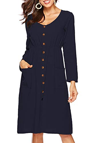 Sarin Mathews Womens Dresses Long Sleeve V Neck Button Down Casual Skater Midi Dress with Pockets
