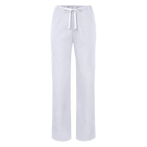 Sivvan Unisex Tapered Leg Drawstring Scrub Pants - S8202 - White - XL