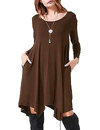 Edjude Women's Plain Long Sleeve Dress Ruffle Flowy Modest Midi Work Party Casual Maxi Dress with Belt