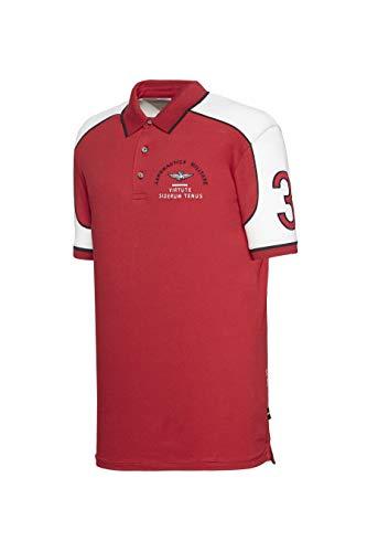 Aeronautica Militare Polo PO1443P Blanc Rouge Piqué Homme Chemise T-Shirt 3