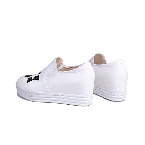 Bedel Voet Dames Verborgen Hak Platform Loafers Schoenen Wit