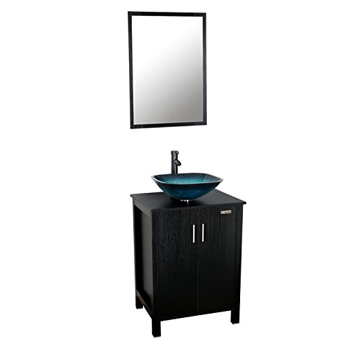 Mirror Vessels (Eclife 24 inch Big Storage Bathroom Vanity Combo Modern MDF Cabinet with Vanity Mirror Tempered Glass Counter Top Vessel Sink with 1.5 GPM Faucet and Pop Up Drain A10B04)