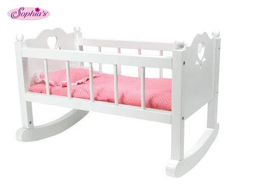 Sophia's White Baby Doll Cradle Furniture, Open Sides & Heart Cutout Design Plus Doll Bedding Set, Fits American Girl Bitty Baby Dolls and More! Perfect Baby Doll Crib/ -
