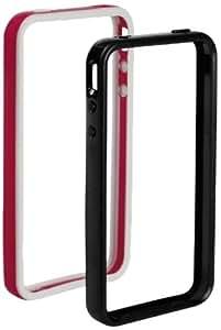 Muvit MUCCPIBIP4002 - Juego de 2 marcos protectores y protector de pantalla para iPhone 4, color negro y fucsia