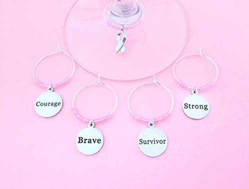 Breast Cancer Wine Charms, Inspirational Gift for Breast Cancer Survivor and Fighter. Strong, Brave, Survivor, Courage, and Ribbon. Set of 5. LIGHT PINK - Breast Komen