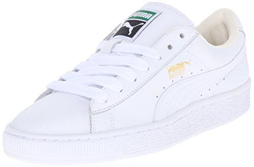Puma White Shoes (PUMA Women's Basket Classic LFS Wn's Fashion Sneaker, White/White, 8.5 B US)