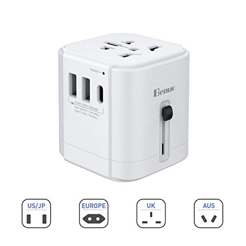 Benuo Universal Travel Adapter, All-in-one Worldwide AC Power Adapter 250V to 110V Voltage with 8A 2-Port USB + Type-C Charging and US/UK/EU/AUS/JP Wall Power Plug