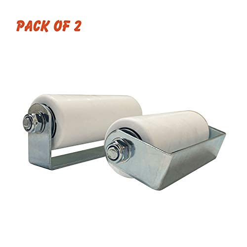 - (Pack of 2) OASIS Sliding Gate Top Guide Roller 6 inch Hard Plastic UHMW White Roller with Removable Axle and Zinc Plated Bracket