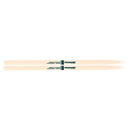 Promark TXR5BN American Hickory Natural Nylon Tip, Single Pair, - Hickory Mark Pro Drumsticks Natural