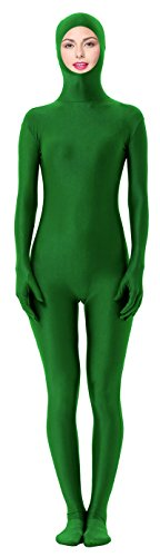 [Marvoll Unisex Spandex Open Face Zentai Full Bodysuit for Kids and Adults (X-Large, Green)] (Green Morphsuit)