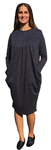 Baby'O Women's Brushed Sweater Knit Pleated Front Slouch Pocket Midi Dress, navy, XS
