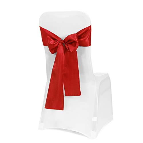 Obstal 10 PCS Satin Chair Sashes Bows for Wedding Reception- Universal Chair Cover Back Tie Supplies for Banquet, Party, Hotel Event Decorations