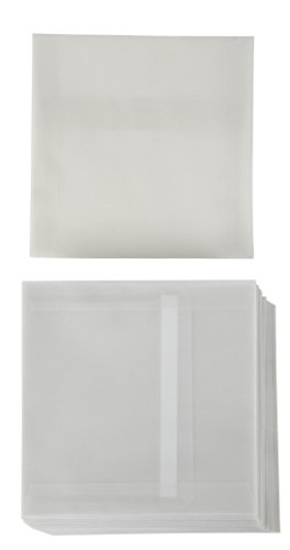 Square Envelopes - 50-Pack 5.5 x 5.5 Inches Self Seal Vellum Paper Envelopes for Greeting Cards, Invitations, Announcements, and Photos - Value Pack Square Flap Envelopes, Clear Translucent White ()