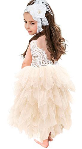 Topmaker Backless A-line Lace Back Flower Girl Dress (5Y, Long-Ivory)