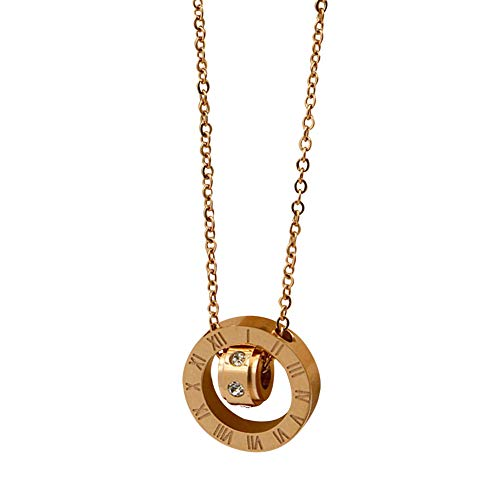 oAtm0eBcl Fashion Pendant Necklace for Women, Roman Numerals Round Pendant Necklace Link Chain Clothing Accessories Rose Gold