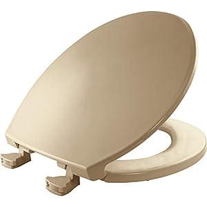 Bemis 800EC 346 Plastic Round Toilet Seat with Easy Clean & Change Hinge, Biscuit/Linen