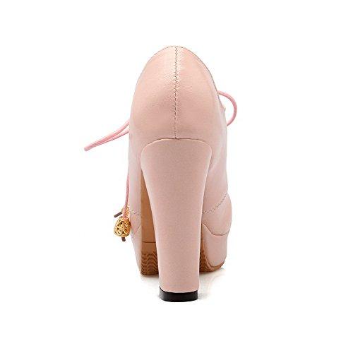 Haut Souple À Femme Rose Matière Unie Talon Lacet Agoolar Chaussures Rond Couleur Légeres Aqwfaq1