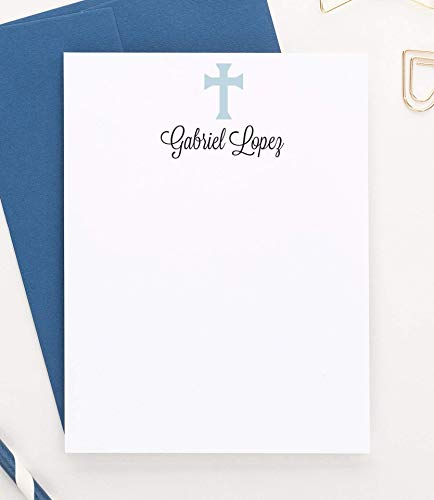 (Personalized Stationery for Kids, Cross Stationery Set, Baptism Thank You Cards, Set of 10 flat note cards your choice of color an)
