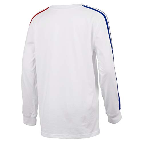 adidas Boys' Long Sleeve Cotton Jersey T-Shirt Tee, BoS Stripe White, Large