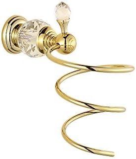 Silver Crystal Hair Dryer Rack European Brass Hair Dryer Holder Wall Mounted Bathroom Accessories