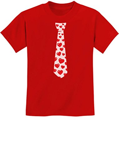 TeeStars - Red Hearts Tie for Valentine's Day Love Youth Kids T-Shirt Large Red