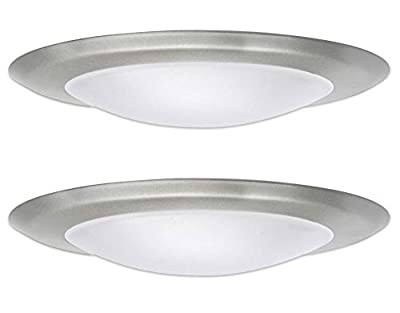 SleekLighting 6 Inches Dimmable LED Disk Light (2 Pack) Silver - Round Flush Mount Recessed Retrofit - 15W, 3000K, 1050lm - for Home, Hotel, Office - Surface Mount Slim Ceiling Lighting Fixture