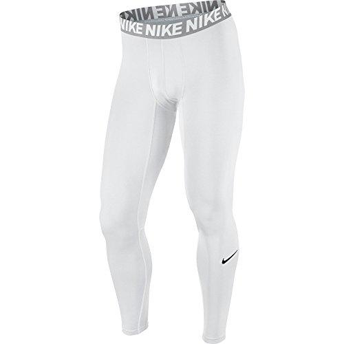 NIKE Men's Base Layer Training Tights, White/Matte Silver/White/Black, Large