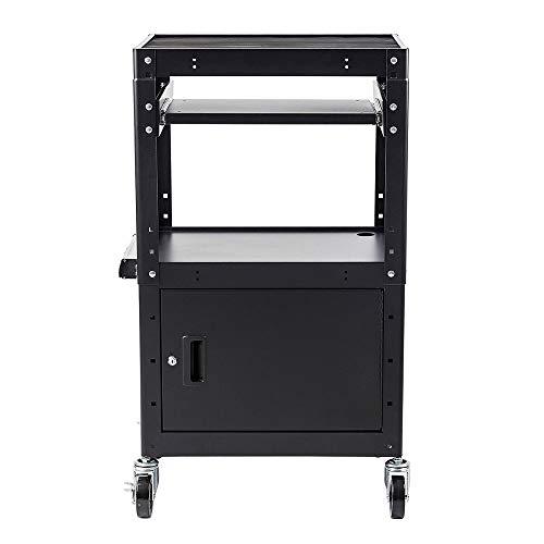 Commercial Grade Metal Rolling AV Cart - Presentation Cart with Storage Box - for TV's, Printers, Classroom Teacher Supplies, Laptop Storage and ()