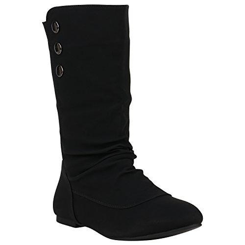 Bequeme Damen Schlupfstiefel Warm Gefütterte Stiefel Leder-Optik Boots Flache Schuhe Cowboystiefel Booties Damenschuhe Flandell Schwarz Nieten