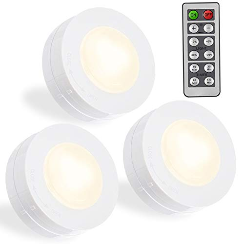 SALKING LED Puck Lights, Wireless LED Under Cabinet Lighting with Remote, Closet Light Battery Operated, Dimmable Under Counter Lights for Kitchen, Natural White-3 Pack