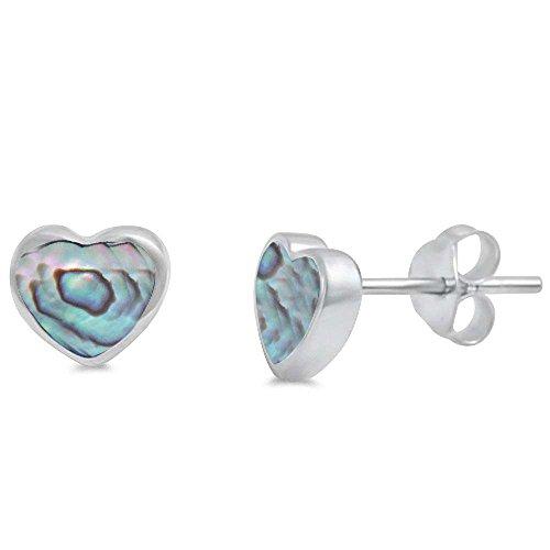 Abalone Heart Earrings - Abalone Heart Shape .925 Sterling Silver Earring