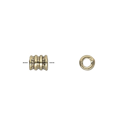 "Bead antique gold-finished ""pewter"" (zinc-based alloy) 6x5mm ribbed round tube with 3mm hole"