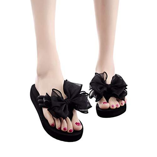 Behkiuoda Women Beach Slippers, Summer Shoes Bow Wedges Flip Flops Non-Slip Clip Toe Flat Slippers Black (Slippers For The Beach)
