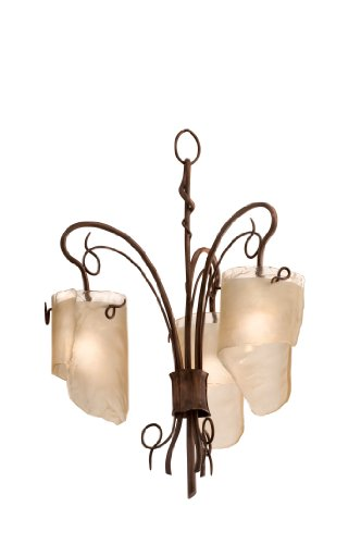 Varaluz 126C03HO Soho 3-Light Chandelier, Hammered Ore Finish with Brown Tint Ice Glass Shades, 17-Inch by 23-Inch (Soho Ceiling Chandelier)