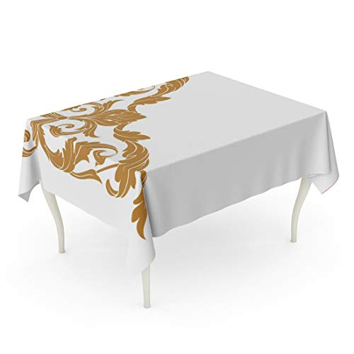 - Tarolo Rectangle Tablecloth 60 x 84 Inch Border Gold Vintage Baroque Corner Retro Pattern Antique Acanthus Filigree You for Wedding Laser Cutting Arabesque Table Cloth