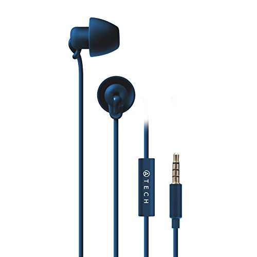 ATECH - Sleeping Earbuds - Ultra Flexible Silicon Earplugs Noise Cancelling with Microphone for Sleeping, Insomnia, Snoring, Air Travel, Relaxation, ASMR (Navy)