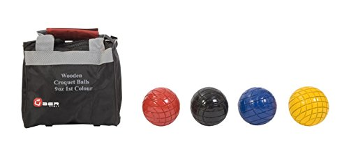 Uber Games Croquet Ball Set (Red, Yellow, Blue, Black, 9oz Wooden)