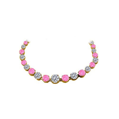 Pink Sapphire Vermeil Necklace (CZ Pink Sapphire Graduated Necklace Yellow Gold)