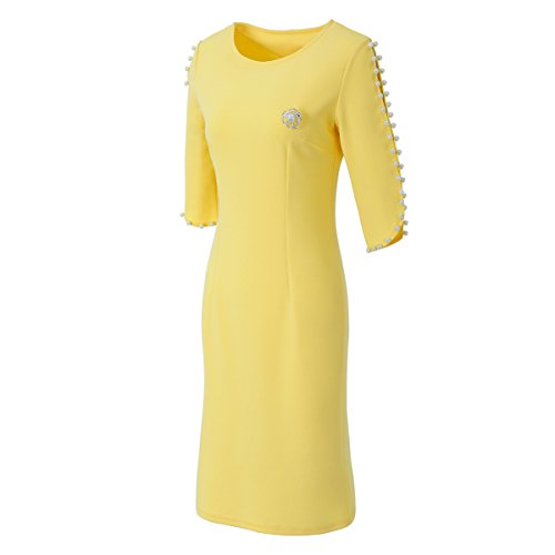 HRMSIUKB Women's Summer Dresses for Work Casual Scoop Neck Beaded Sleeve Bodycon Cocktail Dress(Medium, Yellow) ()