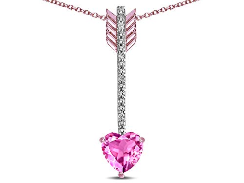 Star K 6mm Created Pink Sapphire Heart Arrow Bar Pendant Necklace 10 kt Rose Gold