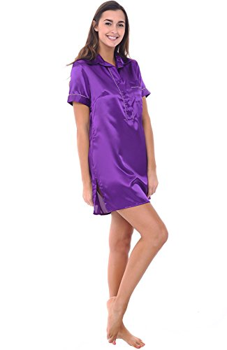 Alexander Del Rossa Womens Satin Nightgown, Boyfriend Style Short Sleeve Sleep Shirt, XL Regency (A0789REGXL) (Satin Sleepshirt)
